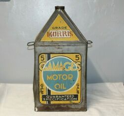Vintage 1930's Gamages Motor Oil 5 Gallon Oil Tin Can