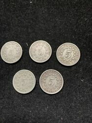 5 Pc Lot Shield Nickels 3-1867 And 2-1882