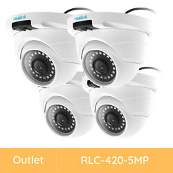 Reolink 4 Pack Outdoor 5mp Poe Security Camera Motion Detection Renewed Rlc-420