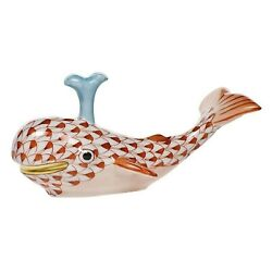 Herend Miniatures, Baby Whale W/spout Porcelain Figurine, Rust, Flawless