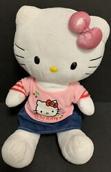 Build A Bear Hello Kitty White Pink Shimmery Bow 18in Doll Plush Shirt Skirt