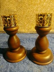 Pair Of Wooden Candlestick Holders 6quot;