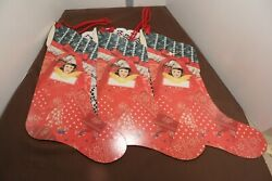 Vintage Victorian Die Cut Christmas Stocking Decorations Victorian Girl Lot Of 3