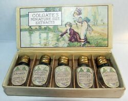 Antique Colgate And Co Miniature Perfume Set With 6 Bottles And Box With Candco Logo