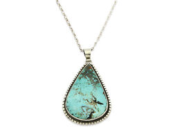 Navajo Necklace .925 Silver Bisbee Turquoise Artist Teepee C.80and039s