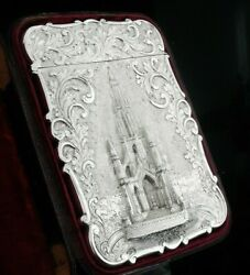 Antique Sterling Silver Card Case Cased Sir Walter Scott Monument 1844 N Mills