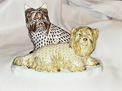 Herend Max And Sally Terrier Dog Porcelain Figurine Bi-color New Retail 1950