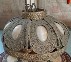 19quot; Antique Hanging Chandelier Ceiling Light Fixture Guilded Gold Tin Filagree