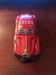 Vintage Tin Litho Toy Fire Dept Chief Car 110 Made In Japan Old Original