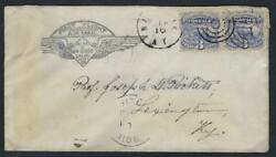 Us 1869 Pair Sc 114 Tied On Ny Cover Reused In 1930 On A First Flight San Diego
