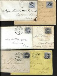 Us 1869 Sc 114 Tied On 6 Covers Different Towns White Cloud Kans Detroit Mich