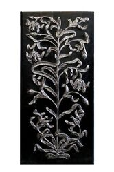 Wall Panel Hanging Wood Hand Carving Home Decor Art Silver Vintage Collectible D