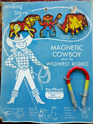 1950s Magnetx, Inc Carded Magnetic Cowboy/western Rodeo Toys- Orig, Tin Lthoi