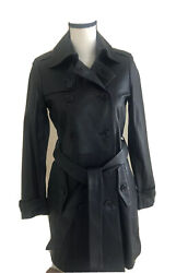 Set Urban Deluxe Double Breasted Trench Style Leather Coat Nwt Us 2 34 Black