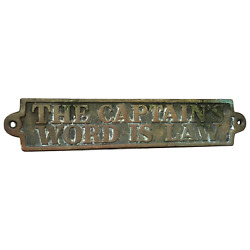 1930and039s Marine English Brass The Captainand039s Word Is Law Boat Yacht Cabin Plaque