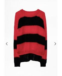 Zadig Voltaire Mohair Jumper. Xs Oversized. Red And Black. Will Fit Larger Sizes