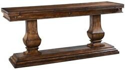 Console Table Italian Rustic Tuscan Distressed Pecan Fold Out Top Pillar L