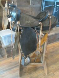 15 Black Saddle With Tooled Horses And Cattle Plus Has Tapaderos Collectable