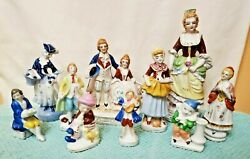 Vintage Lot Of 10 Occupied Japan China Mostly Victorian Figurines Statues