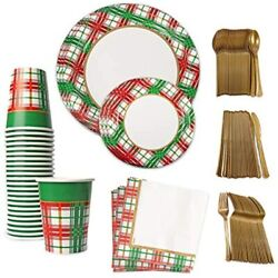 Christmas Plaid Tablesettings 24, 10 And 7in Paper Plates, Napkins, Gold Plastic