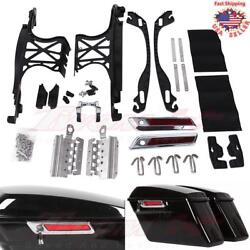 One Touch Saddlebag Hardware Latch Hinges Lock Kit Lids For Harley Touring 14-18