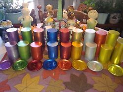 Vintage Perma Hues Lot Of 26 Aluminum Large And Small Tumblers Cups And Coasters