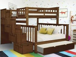 Bedz King Stairway Bunk Beds Twin Over Full With 4 Drawers In The Steps And A Tw