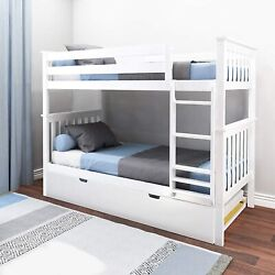 Max And Lily Bunk Bed With Trundle Twin White