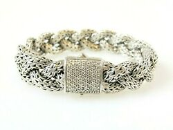 John Hardy Bracelet Sterling Silver And Pave Diamond Braided Chain 13 Mm .42 Carat
