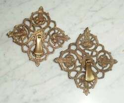 2 Vintage Decorative Cabinet Drawer Pull Knobs W 4 Inch Square Back Plates