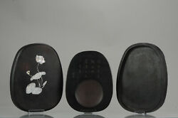 Chinese Or Japanese Ink Stone For Calligraphy In Mother Of Pearl Box