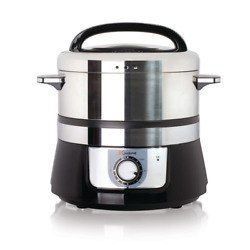 Food Steamer Electric Stainless Steel Rice Cooker Removable Tray 3.4 Qt Chrome