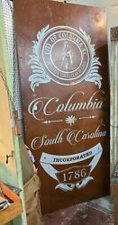 Vintage Large Columbia South Carolina City Advertising Sign Marker Collectible