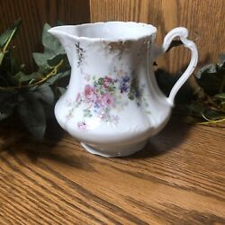 """Antique Porcelain Pitcher 5"""" W/ Pink, Blue And White Flowers, Roses Gold Trim"""