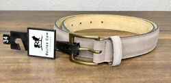 The Belted Cow Company Hampton Gray Suede Nuback Mens Belt Made In Maine New 88