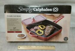 Simply Calphalon Red Enamel Cast Iron 11-inch Grill Pan And Press New Old Stock