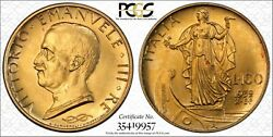 Italy 1932-r Yr.x 100 Lire Uncirculated Gold Coin Pcgs Certified Ms64