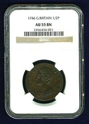 England King George Ii 1746 Half-penny Copper Coin, Certified By Ngc Au55-bn