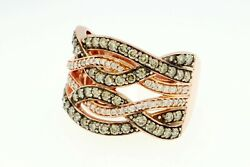 Le Vian Diamond Ring Vanilla And Chocolate Pave 14k Rose Gold Wide Braided Band