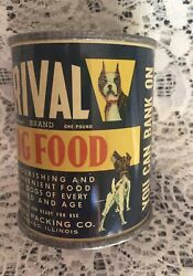 VINTAGE RIVAL DOG FOOD BANK WITH BOSTON TERRIER