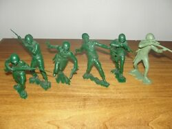 Vintage Louie Marx Plastic Army Men Soldiers 1963 Gray Green 5 To 6 Inch Figures