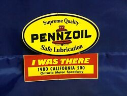 Indianapolis Indy 500 Vintage 1980 California 500 I Was There Pennzoil Decal