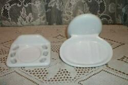 1940s White Porcelain Bath Wall Fixtures Soap Dish Toothbrush French Farmhouse