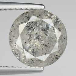 Huge 3.12cts 9.9mm Gray Natural Salt And Pepper Loose Diamond See Video