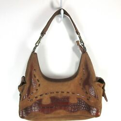 SCULLY Brown Leather Suede Stitch Applique Croc Print Western Shoulder Hobo Bag $19.00