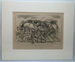 Lamar Dodd 1909-1996 Drawing Titled Cotton Pickers Signed Dated C. 1945