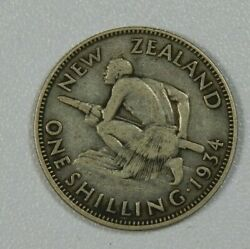 Roughly Size Of Quarter 1934 New Zealand 1 Shilling World Silver Coin