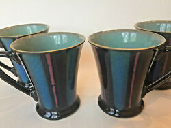 Set Of 4 Denby England Gatsby Stripe Green Coffee Mugs Cup Cobalt Flared Footed