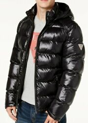 Guess Menand039s Puffer Jacket Removable Hood - Black- New 100 Original With Tags