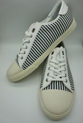 Celine Blank Low Lace-up Sneaker Canvas Blue And White Stripe Size 41